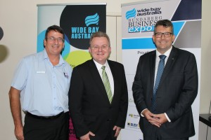 Bundaberg Enterprise Centre Manager Peter Peterson, Minister for Small Business Bruce Billson and Member for Hinkler Keith Pitt