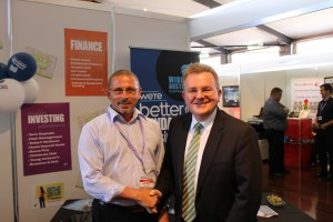 Minister Billson with local exhibitor Mark Moller from the Wide Bay Australia Ltd